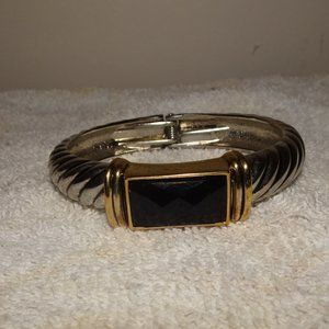 Silver Gold Tone Black Cabochon Clamper Bracelet